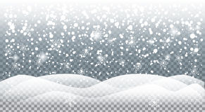 Falling snowflakes. 2017 Vector illustration for Merry Christmas and Happy New Year greeting card background with Realistic falling snow, snowfall, sparkles Royalty Free Stock Images