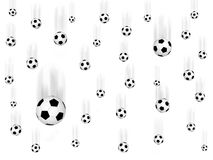 Falling soccer balls. On white background. High resolution  3D image Stock Photos