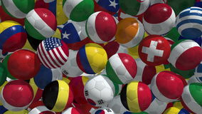 Falling soccer balls. With flags of national teams