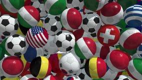 Falling soccer balls stock video