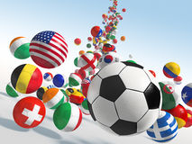 Falling soccer balls. With flags of national teams stock photos
