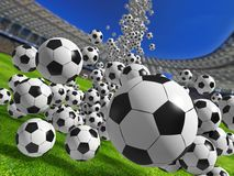 Falling soccer balls. Lot of soccer balls falling on the stadium stock photo