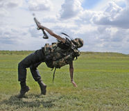 Falling soldier stock photos