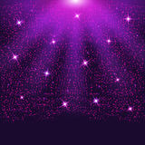 Falling sparkling purple particles and stars. Confetti Glitters. Vector illustration Royalty Free Stock Image