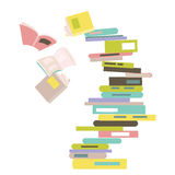 Falling stack of books. Vector illustration royalty free illustration