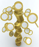 Falling stack of euro coins. Falling stack of one euro coins royalty free illustration