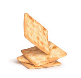 The falling stack of square crackers Royalty Free Stock Photography
