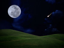 Falling star. Full moon with falling star and green hill on darkness sky Stock Photography