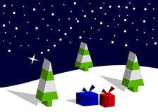 The falling star. Fir-trees and boxes with gifts against the falling star Royalty Free Stock Photos