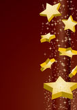 Falling stars. Shooting golden stars on brown background,  illustration additional Stock Photography