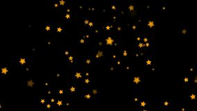 Falling Stars cartoon over black background very easy to use them over your videos using alpha channel, stars rain stock footage