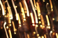 Falling stars in the Christmas tree stock photography