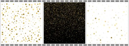 Falling Stars And Dots Abstract Backgrounds. Vector illustration. 3 in 1 stock illustration