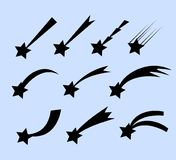 Falling stars  set. Shooting stars isolated from background. Icons of meteorites and comets. Stock Photography