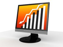 Falling statistic. 3d rendered illustration of a display with a falling statistic Stock Photos