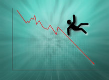 Falling Stock Guy. Silhouette of falling guy and line graph Stock Photo