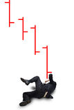 Falling stock market. An illustration of a businessman appearing to have fallen under loosing stock market tracking symbols.  Theme:  Falling stock market Royalty Free Stock Photos