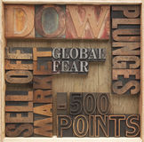 Falling stock market words Royalty Free Stock Images