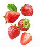 Falling strawberries. royalty free stock photos