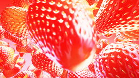 Falling strawberries on pink background. Close up. 4K stock footage