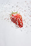 Falling strawberries in water stock photos