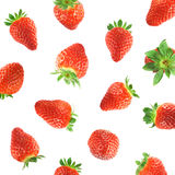Falling strawberry. Sweet isolated on white strawberries Royalty Free Stock Photography