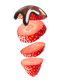 Falling strawberry Stock Images
