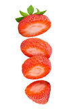 Falling strawberry isolated on white background. Falling strawberry isolated  on white background with clipping path Stock Images