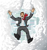Falling suitman in sky Royalty Free Stock Photo