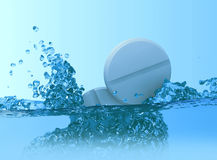 Falling tablets. In cold water (3D Royalty Free Stock Photography