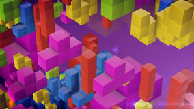 Falling tetris blocks style. Multicolored falling blocks. Background created from tetris game elements. 3d rendering Stock Photography