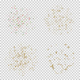 Falling tiny colorful bright confetti pieces on transparent background. Holiday set of Falling tiny colorful and golden bright confetti pieces on white Royalty Free Stock Photography