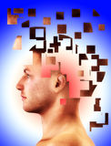 Falling To Bits. Mental health concept of a mans head falling to bits Stock Photography