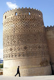 Falling tower. Tower on the corner of city wall in the centre of Shiraz, Iran Stock Images