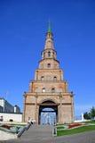 Falling tower in the Kazan. Monument of medieval architecture - falling tower Suyembeki in the Kazan Kremlin Stock Photo