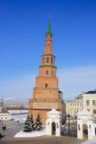 Falling tower Suyembeki in the Kazan Kremlin. Monument of medieval architecture - falling tower Suyembeki in the Kazan Kremlin Royalty Free Stock Photo