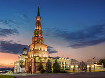 Falling tower of Syuyumbike. In the Kazan Kremlin on a summer evening Royalty Free Stock Photos