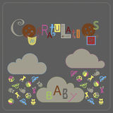 Falling toys. Cover design for the greeting card for the birth of the baby. Depicted in dashed frame ,three clouds, falling toys, small circles and a word of Stock Photo