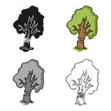 Falling tree icon in cartoon style isolated on white background. Sawmill and timber symbol stock vector illustration. Stock Photos
