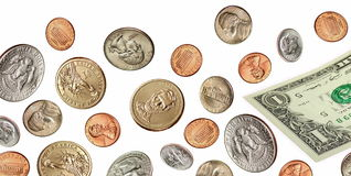 Falling US coins and currency Stock Photos