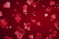 Falling valentine day red hearts shape with explosion on red gradient background, holiday festive valentine day love Stock Photos