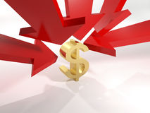 The falling value of the dollar. Over white background Royalty Free Stock Photos
