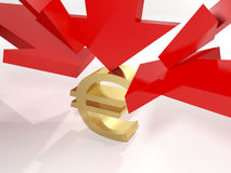 The falling value of the euro Stock Photography
