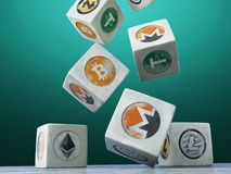 Falling vintage cubes with the image of a crypto currency on a d Stock Photos