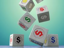 Falling vintage cubes with the image of currency symbols on a da. Rk background. Isolated object. 3d illustration Royalty Free Stock Photography