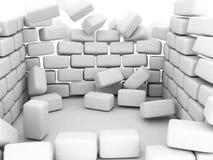 Falling walls. Collapsing 3d block walls, white Stock Photography