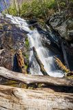 Falling Water Cascades – Lower Falls. Horizontal view of the lower falls of the Falling Water Cascades located off the Blue Ridge Parkway at mile post 83.1 in Royalty Free Stock Photos