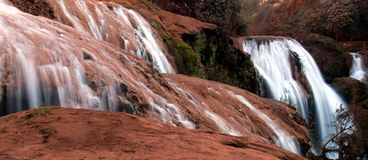 Falling water from the waterfall. Cascade d'Ouzoud Waterfall in Morocco Royalty Free Stock Photography