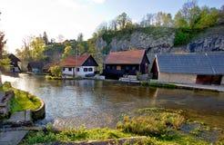 Falling waters village of Rastoke Royalty Free Stock Photos