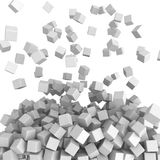 Falling whiter cubes abstract background. 3D render illustration Royalty Free Illustration